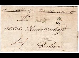 Österreich 1838, Böhmen Schreibschrift-L1 Rokitzan klar auf Brief n. Pilsen