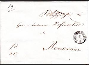 Bayern 1843, Fingerhut Stpl. POSSENHEIM auf Franko Brief n. Remlingen