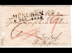 Bayern 1832, L2 MÜNCHEN auf auf Mini (56x97 mm) - Brief n. Württemberg