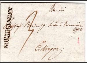 Bayern 1832, L1 NOERDLINGEN auf Porto Brief n Württemberg
