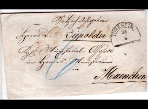 Bayern 1865, HKS TÜRKHEIM klar auf Porto Brief n. Vilshofen