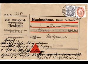 DR 1932, 12+20 Pf. Dienst auf Orts Nachnahme Paketadresse v. Forchheim