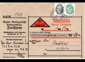 DR 1932, 5+30 Pf. Dienst auf Orts Nachnahme Paketadresse v. Forchheim