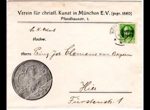 Bayern 1919, 5 Pf. auf Orts Brief v. München an Kgl. Hoheit Prinz Clemens
