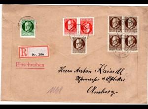 Bayern 1914, 5x3+5+Kehrdruck 10 Pf. auf Einschreiben Brief v. DEISENHOFEN