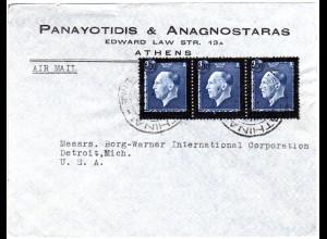Griechenland 1947, MeF 3x 600/8 Dr. auf Luftpost Brief v. Athen n. USA