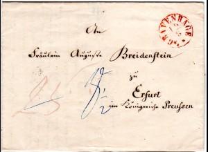 NL 1850, K1 s´GRAVENHAGE auf Porto Brief v. Scheveningen n. Erfurt, Preussen