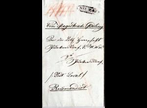 Österreich 1831, Zieroval-Stpl. NEUDORF klar auf Reko Brief n. Purkersdorf