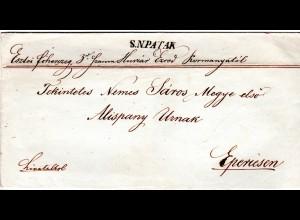 Österreich 1844, Ungarn-L1 S.N. PATAK klar auf Brief n. Eperiesen