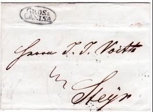 Österreich 1839, Ungarn-Ovalstpl. GROS-CANISA klar auf Brief n. Steyr