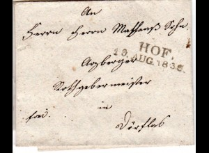 Bayern 1839, L2 HOF auf Franco Brief n. Dörfles