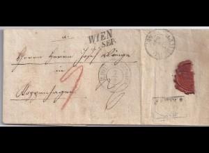 Österreich Hamburg Dänemark 1842, Teil Porto Brief v. Wien n. Kopenhagen. #1819