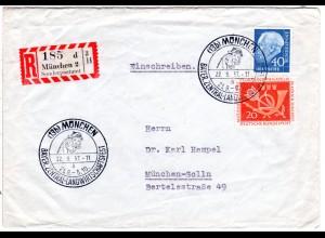 1957, ZENTRAL-LANDWIRTSCHAFTSFEST MÜNCHEN, Einschreiben Brief m. Sonderstempel