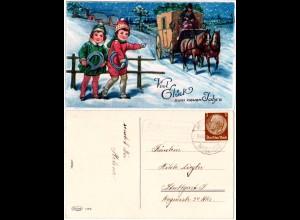 DR 1933, Landpost Stpl. ÖSCHELBRONN über Herrenberg auf Neujahrs-AK