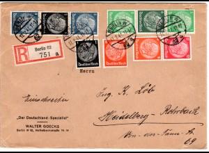 DR 1941, 1+8 Pf.+3 Zusammendrucke auf portorichtigem Reko Brief v. Berlin