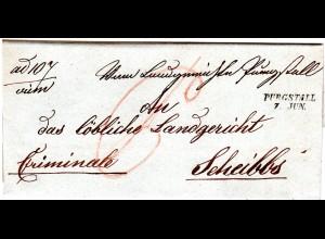 Österreich 1847, Niederösterreich-L2 PURGSTALL klar auf Brief n. Scheibbs
