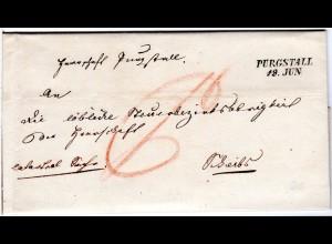 Österreich 1846, Niederösterreich-L2 PURGSTALL sehr klar auf Brief n. Scheibbs