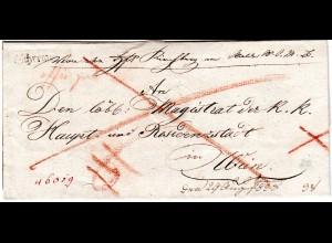 Österreich 1828, Niederösterreich-L1 SCHREMS auf Brief n. Wien