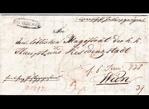 Österreich 1835, Niederösterreich Zier-L1 GAUNERSDORF auf Brief n. Wien