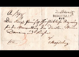 Preussen 1842, Sachsen-Anhalt-L2 BURGSTALL auf Brief m. interessantem inhalt!