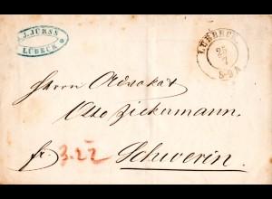 K2 Lübeck auf Franco Brief n. Mecklenburg Schwerin m. rücks. AUSG. No 1