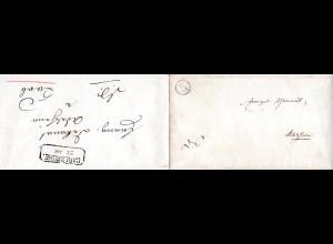 Baden, Uhrrad Stpl. 5 auf 2mal verwendetem Brief n. Adelsheim