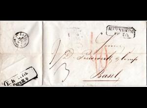 Baden 1854, R2 MANNHEIM auf Porto Brief i.d. Schweiz