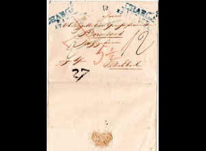 Baden 1828, L2 RASTATT u. CHARGÉ in blau auf Porto Brief n. Wiesbaden, Taxis
