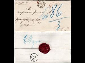DR 1872, K2 WOLFENBÜTTEL auf Nachnahme Paket Brief m. rotem AUSLAGEN Stempel.