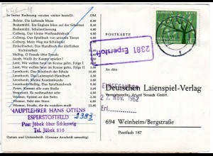 BRD 1963, Landpost Stpl. 2381 ESPERSTOFT auf Karte m. 10 Pf. gest. Schleswig