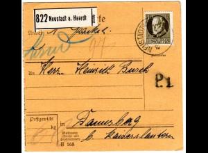 Bayern 1916, 40 Pf Friedensdruck auf Paketkarte v. Neustadt a. Haardt. Geprüft
