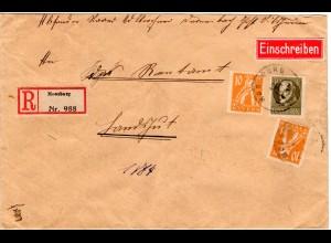 Bayern 1920, 40+2x10 Pf. Abschied auf Reko Firmen Brief v. Moosburg. Geprüft