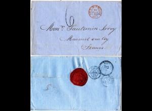 Spanien 1868, Brief v. Gibraltar n. Frankreich m. ESP. ST. JEAN DE LUZ AMB.C