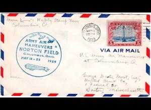 USA 1929, 5 C. Air Mail auf Brief m. blauem Norton Field Army Air Maneuvers