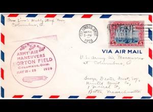 USA 1929, 5 C. Air Mail auf Brief m. violettem Norton Field Army Air Maneuvers