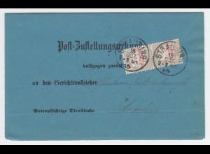 Bayern 1886, Straubing, Orts Zustellungsurkunde m. Paar 10 Pf. Porto. #2240