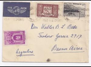 Monaco 1948, Luftpost Brief m. 3 Marken n. Argentinien. Destination!
