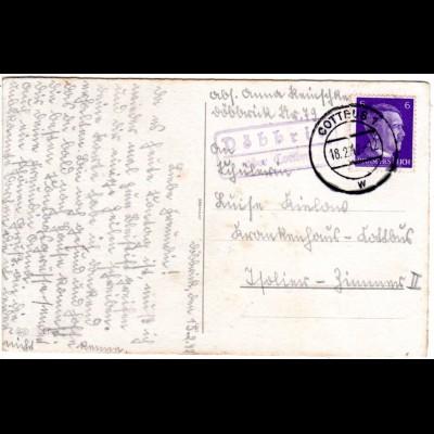 DR 1942, DÖBBRITZ über Cottbus, Landpost Stpl. auf AK m. 6 Pf.
