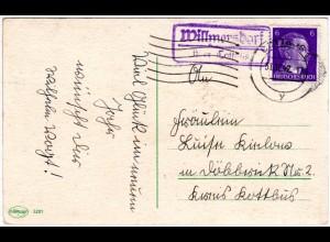 DR 1942, WILLMERSDORF über Cottbus, Landpost Stpl. auf Karte m. 6 Pf.