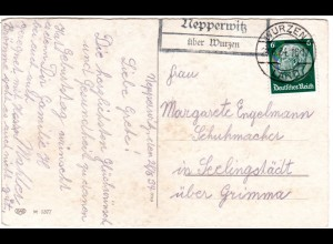 DR 1934, NEPPERWITZ über Wurzen, Landpost Stpl. auf Karte m. 6 Pf.