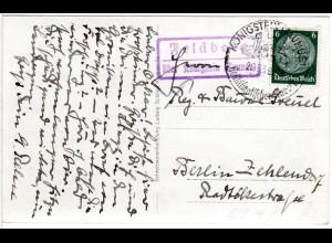 DR 1939, FELDBERG über Königstein, Landpost Stpl. auf AK m. 6 Pf.