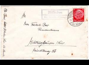 DR 1936, Landpost Stpl. ALTKIRCHEN über Schmölln auf Brief m. 12 Pf.