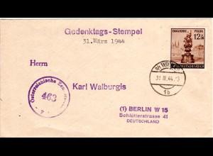 Österreich 1944, 12+38 Pf. Fulda auf Ostmark Überroller Brief m. Zensurstelle Z