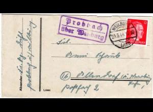 DR 1944, Landpost Stpl. PROBBACH über Weilburg auf Brief m. 12 Pf.