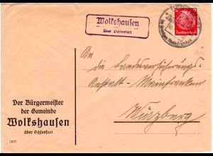 DR 1941, Landpost Stpl. WOLKSHAUSEN über Ochsenfurt auf Bürgermeister Brief