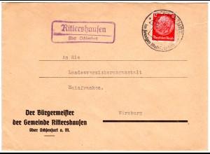 DR 1941, Landpost Stpl. RITTERSHAUSEN über Ochsenfurt auf Bürgermeister Brief