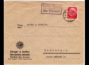 DR 1935, Landpost Stpl. DORFHAIN FABRIK über Tharandt auf Firmen Brief m. 12 Pf.