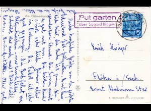 DDR 1958, Landpost Stpl. PUTGARTEN über Sagard auf AK m. 10 Pf.