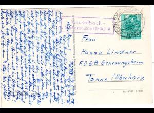 DDR 1961, Landpost Stpl. MEUSELBACH-SCHWARZMÜHLE (Thür.) A auf AK m. 10 Pf.