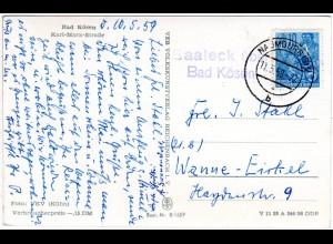 DDR 1959, Landpost Stpl. SAALECK über Bad Kössen auf AK m. 10 Pf.